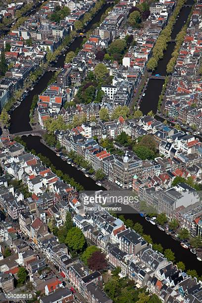 The Netherlands, Amsterdam, Aerial of city centre