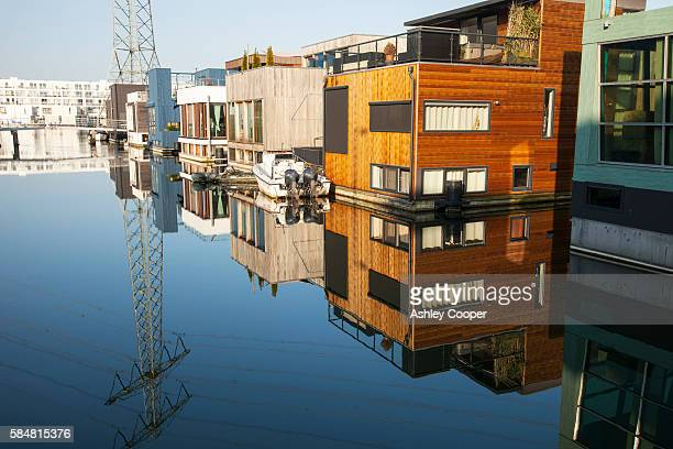 The Netherlands are notoriously flat and low lying, with 50% of the country lying below sea level. Climate change is leading to both sea level rise and increased flooding, both of which threaten poperties. One solution is to build floating houses, that ri