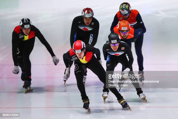 The Netherlands Belgium and Japan compete in the 5000m mens Relay during the Audi ISU World Cup Short Track Speed Skating at Optisport Sportboulevard...