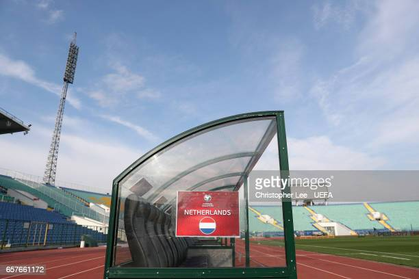 The Netherlands bench in the Vasil Levski National Stadium during the FIFA 2018 World Cup Qualifier Group A match between Bulgaria and Netherlands at...