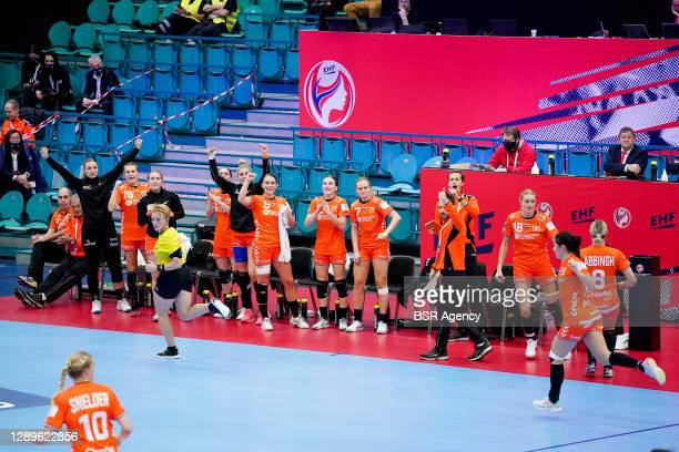 The Netherlands bench reacts during the Women's EHF Euro 2020 match between Netherlands and Serbia at Sydbank Arena on December 5, 2020 in Kolding,...