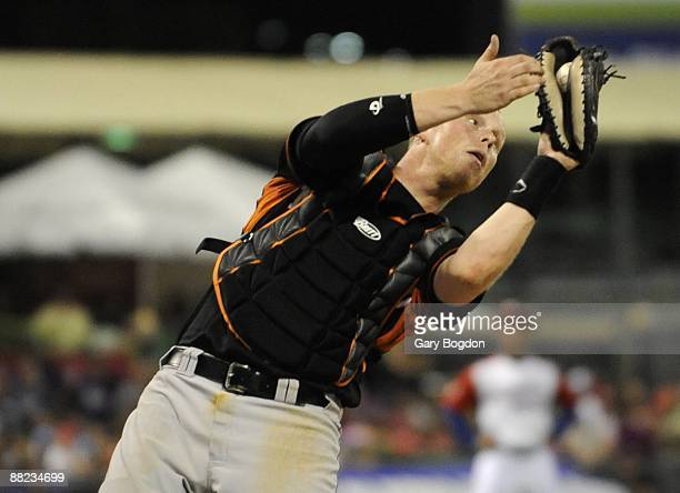 The Netherlands catcher Sidney de Jong catches a popup during the Pool D Game 6, of the first round of the 2009 World Baseball Classic at Hiram...