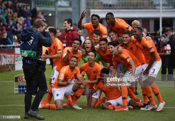 The Netherlands celebrate after winning the 2019 UEFA U17 European Championship Final at Tallaght Stadium on May 19 2019 in Tallaght Ireland