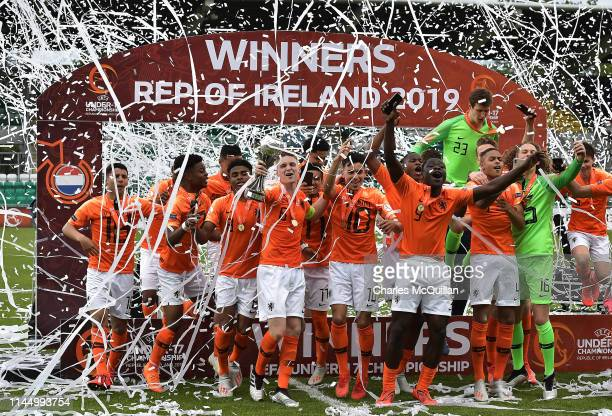 The Netherlands celebrate with the trophy after the 2019 UEFA U17 European Championship Final between Netherlands and Italy at Tallaght Stadium on...