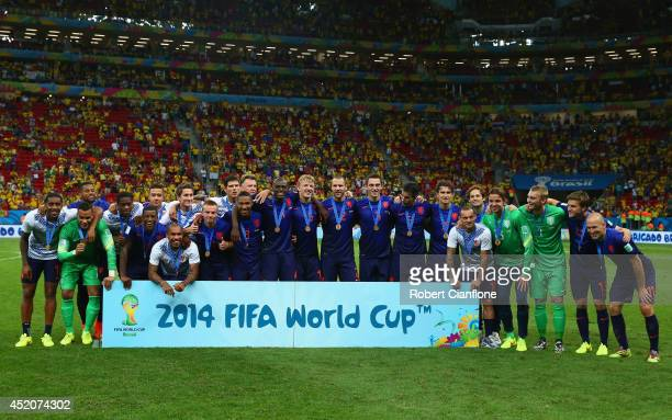The Netherlands celebrate with their medals after defeating Brazil 30 in the 2014 FIFA World Cup Brazil Third Place Playoff match between Brazil and...