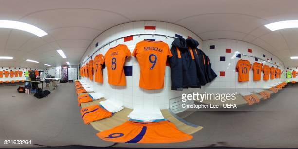 The Netherlands changing room ahead of the UEFA Women's Euro 2017 Group A match between Belgium and Netherlands at Koning Willem II Stadium on July...
