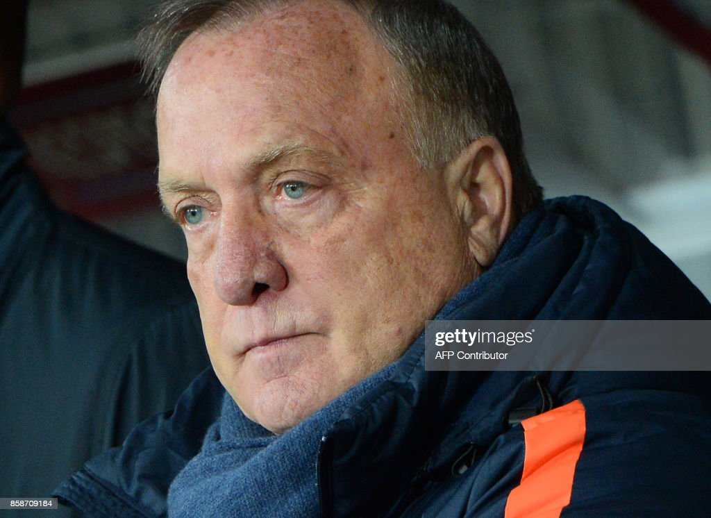 The Netherlands' coach Dick Advocaat looks on before the FIFA World Cup 2018 qualification football match between Belarus and the Netherlands in Borisov, outside Minsk, on October 7, 2017. /