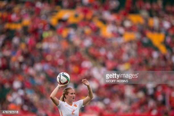 The Netherlands' Desiree Van Lunteren prepares for a throw in during their Group A football match against China at the FIFA Women's World Cup at...