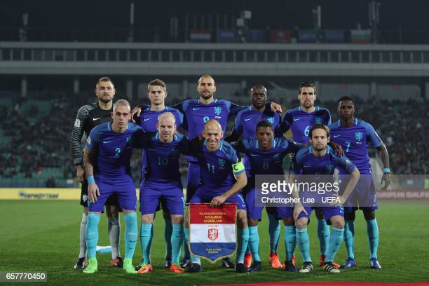 The Netherlands first Eleven pose for a team photo before kick off during the FIFA 2018 World Cup Qualifier Group A match between Bulgaria and...
