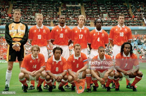 The Netherlands football team prior to their UEFA Euro96 Group A match against Scotland at Villa Park in Birmingham on 10th June 1996 The match ended...