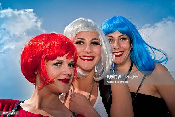 the netherlands, girls during queensday festival - king's day netherlands stock photos and pictures