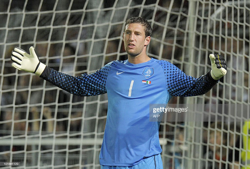 The Netherlands' goalkeeper Maarten Stekelenburg reacts during a friendly football game between The Netherlands and Mexico at the Badenova Stadium in Freiburg, southern Germany, on May 26, 2010, ahead of their participation in the FIFA World Cup 2010 in South Africa. The Netherlands won by 2-1.