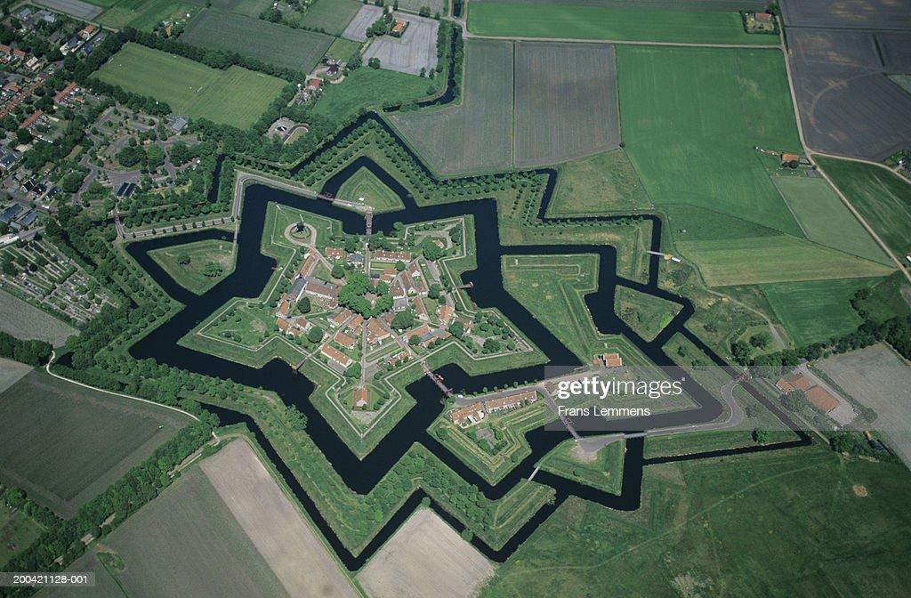 Groningen Weihnachtsmarkt.The Netherlands Groningen Bourtange Fortress Aerial View
