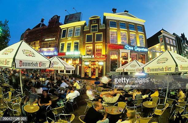 The Netherlands, Groningen, outdoor cafes, dusk
