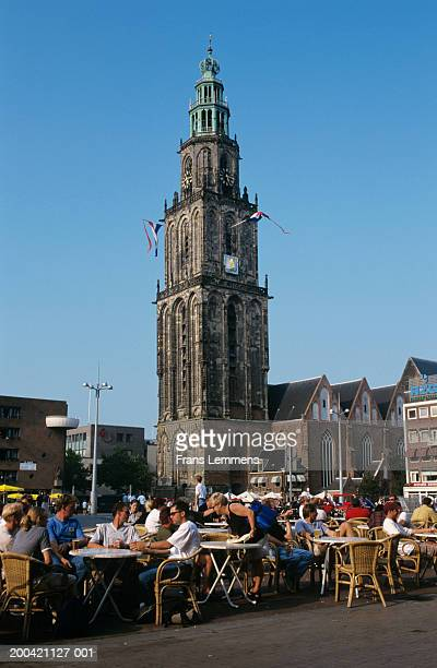 The Netherlands, Groningen, people at outdoor cafes