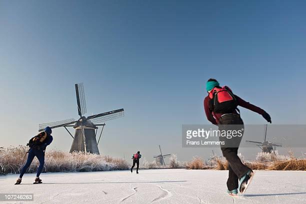 The Netherlands, Kinderdijk,Windmills, ice skating