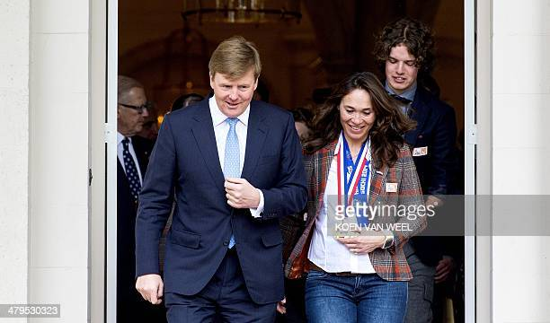 The Netherlands' King WillemAlexander meets with gold medalist of the Paralympic Games 2014 in Sochi Bibian Mentel at Palace Noordeinde in The Hague...