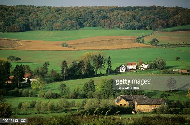 The Netherlands, Limburg, Epen, houses in rural landscape