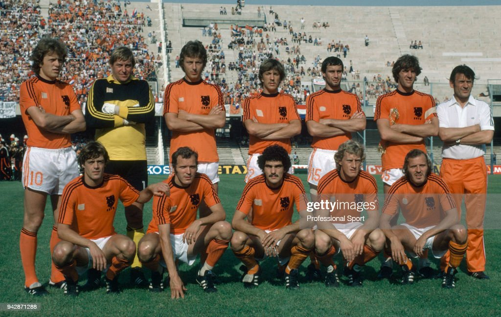 The Netherlands line up for a ...
