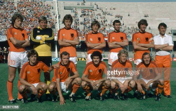 The Netherlands line up for a group photo before the UEFA Euro 1980 match between West Germany and the Netherlands at the Stadio San Paolo on June 14...