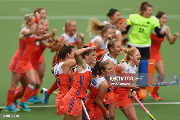 The Netherlands players celebrate their victory over New Zealand after a penalty shoot out during the Fintro Hockey World League semi final game...