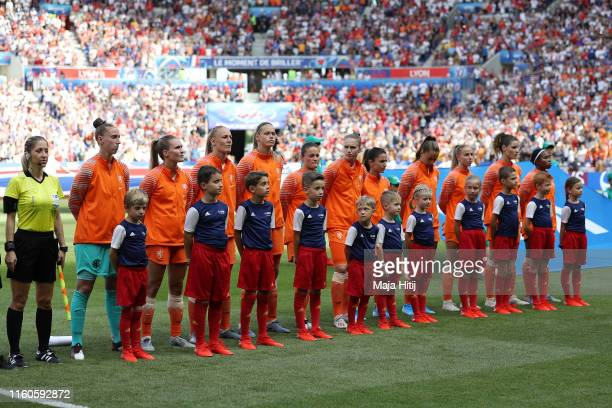 The Netherlands players line up prior to the 2019 FIFA Women's World Cup France Final match between The United States of America and The Netherlands...