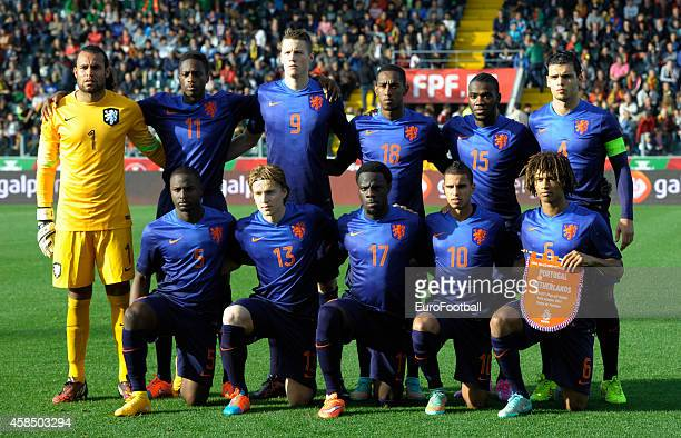 The Netherlands players pose for a team photo before the UEFA U21 Championship second leg playoff between Portugal and Netherlands at the Mata Real...
