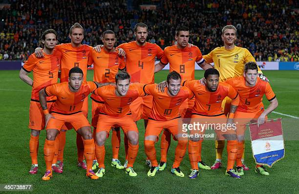 The Netherlands pose for a team photograph prior to the friendly International match between the Netherlands and Colombia at the Amsterdam Arena on...