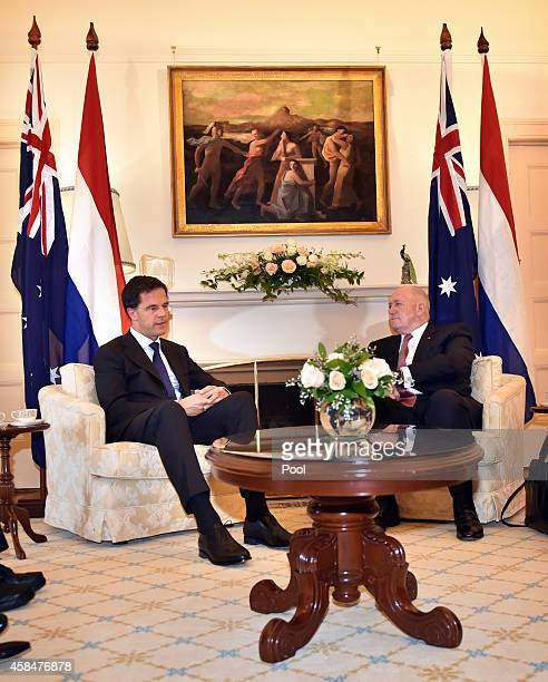 The Netherlands Prime Minister Mark Rutte sits for talks with Australian GovernorGeneral Peter Cosgrove at Government House in on November 6 2014 in...