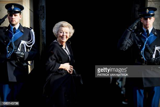 The Netherland's Princess Beatrix smiles before holding the traditional New Year reception for Dutch guests at the Royal Palace in Amsterdam, on...
