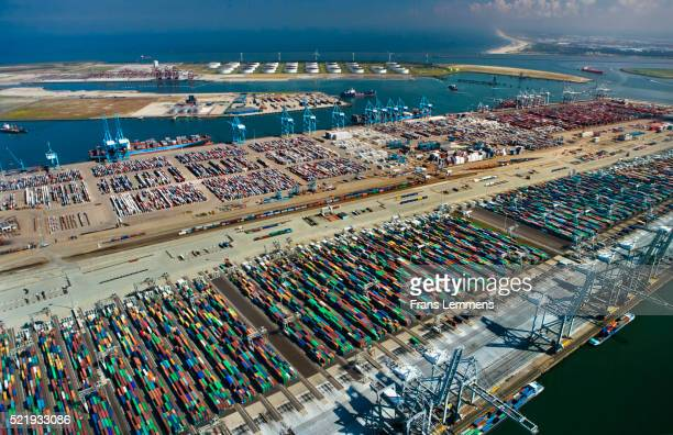 the netherlands, rotterdam, harbour, port. aerial of container port. - rotterdam stock pictures, royalty-free photos & images