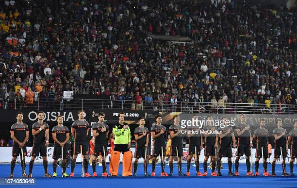 The Netherlands side line up for the national anthems during the FIH Men's Hockey World Cup Final between Belgium and the Netherlands at Kalinga...