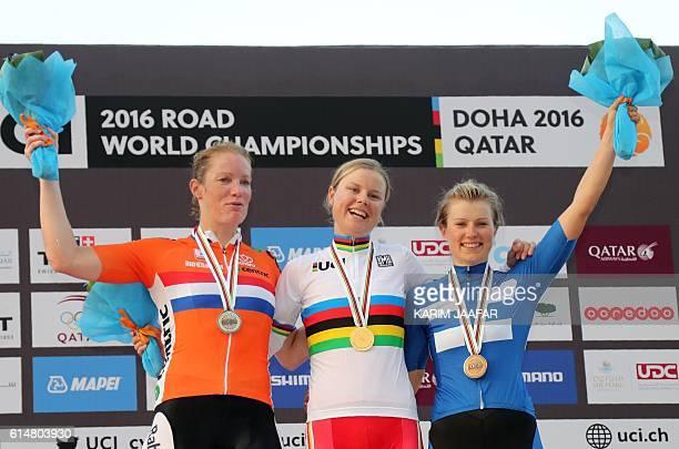 The Netherlands' silver medallist Kirsten Wild Denmark's gold medallist Amalie Dideriksen and Finland's bronze medallist Lotta Lepisto celebrate on...
