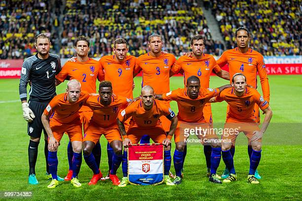 The Netherlands starting eleven poses for a photo during the 2018 FIFA World Cup Qualifier match between Sweden and the Netherlands at Friends Arena...