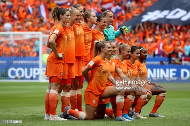 The Netherlands starting lineup during the 2019 FIFA Women's World Cup France Final match between The United States of America and The Netherlands at...