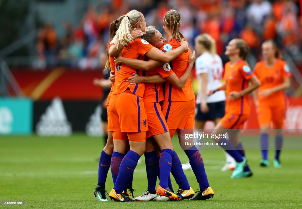 The Netherlands team celebrate at the final whistle after victory during their Group A match between Netherlands and Norway during the UEFA Women's Euro 2017 at Stadion Galgenwaard on July 16, 2017 in Utrecht, Netherlands.