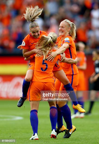 The Netherlands team celebrate at the final whistle after victory during their Group A match between Netherlands and Norway during the UEFA Women's...