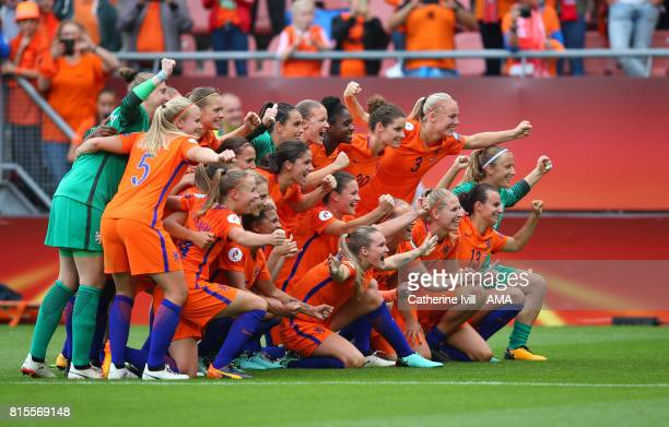 The Netherlands team celebrate the win after the UEFA Women's Euro 2017 Group A match between Netherlands and Norway at Stadion Galgenwaard on July...