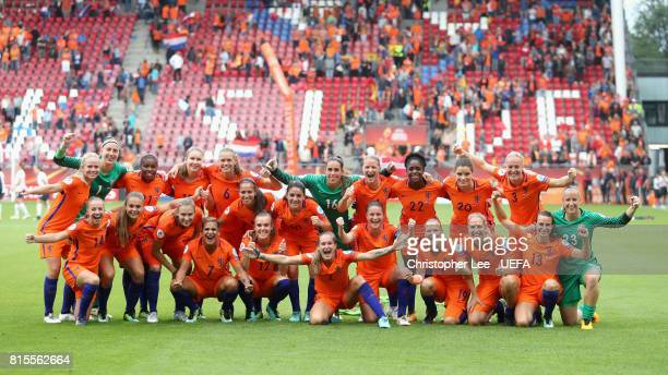 The Netherlands team celebrate victory after the Group A match between Netherlands and Norway during the UEFA Women's Euro 2017 at Stadion...