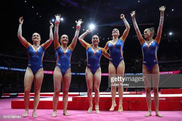 The Netherlands team celebrate winning the Bronze Medal during the Women's Gymnastics Team Final on Day three of the European Championships Glasgow...