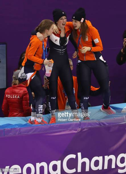 The Netherlands team celebrate winning the bronze medal following the Ladies Short Track Speed Skating 3000m Relay Final A on day eleven of the...