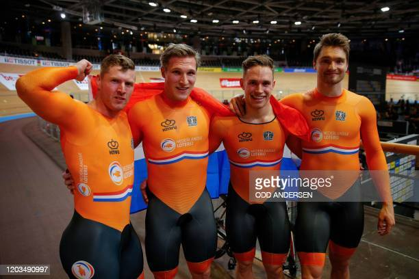 The Netherlands team celebrates Gold after the men's Team Sprint at the UCI track cycling World Championship in Berlin on February 26, 2020.