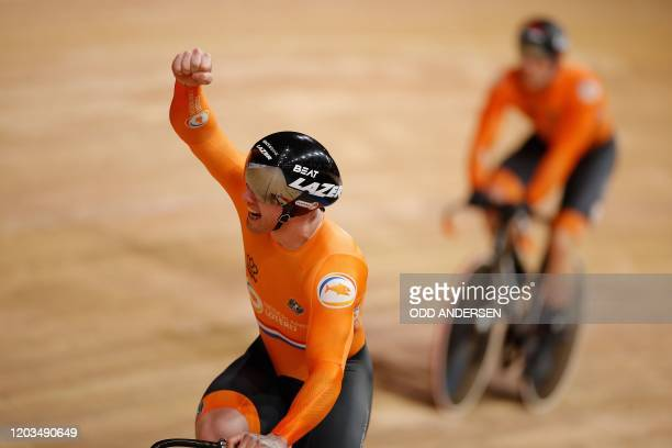 The Netherlands team celebrates wining the men's Team Sprint at the UCI track cycling World Championship in Berlin on February 26, 2020.