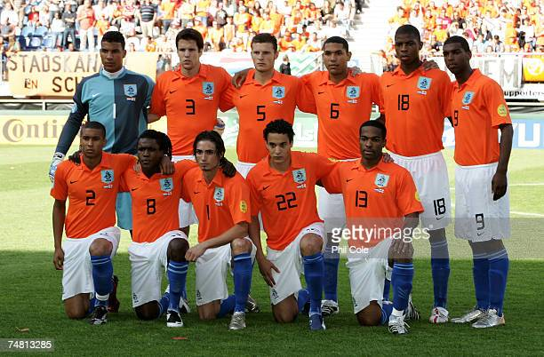 The Netherlands Team during the UEFA European Under-21 Championship semi-final match between the Netherlands U21 and England U21 at the Abe Lenstra...