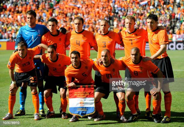 The Netherlands team group before the 2010 FIFA World Cup Group E match between Netherlands and Denmark at Soccer City Stadium on June 14 2010 in...