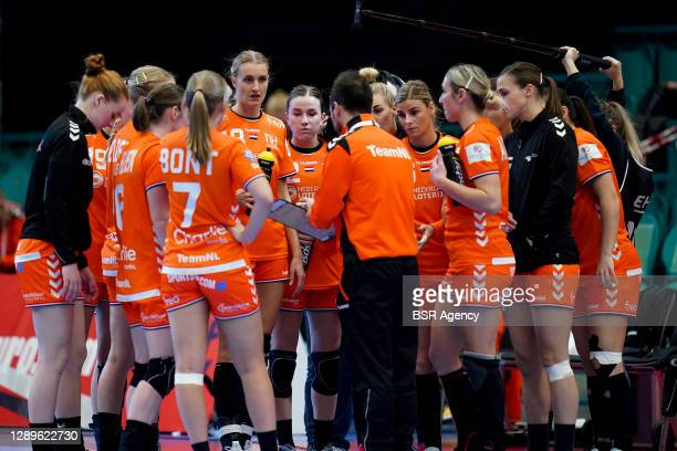 The Netherlands team huddles during the Women's EHF Euro 2020 match between Netherlands and Serbia at Sydbank Arena on December 5, 2020 in Kolding,...