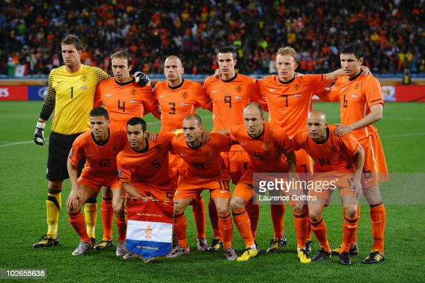 The Netherlands team line up ahead of the 2010 FIFA World Cup South Africa Semi Final match between Uruguay and the Netherlands at Green Point...