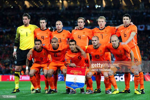 The Netherlands team line up ahead of the 2010 FIFA World Cup South Africa Final match between Netherlands and Spain at Soccer City Stadium on July...