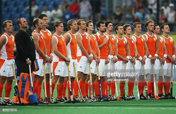 The Netherlands team line up ahead of the Men's Bronze Medal Match between Netherlands and Australia held at the Olympic Green Hockey Field on Day 15...