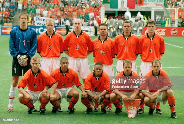 The Netherlands team line up for a group photo before their 1998 FIFA World Cup group match against Mexico at the Stade GeoffroyGuichard on June 25...